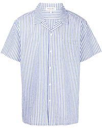 Alex Mill Striped Short-sleeve Cotton Shirt - Blue