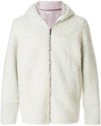 Thom Browne Deerskin Stripe Dyed Shearling Jacket - Blanc