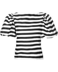 Bambah Striped Sailor Top - Black