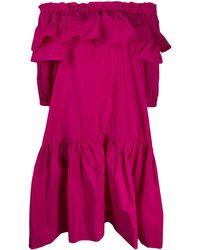 P.A.R.O.S.H. Платье С Открытыми Плечами И Оборками - Розовый