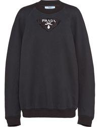 Prada ロゴパッチ スウェットシャツ - ブラック