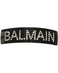 Balmain Crystal-embellished Logo Hairclip - Black