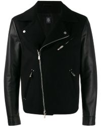 Eleventy - Lambskin Sleeves Biker Jacket - Lyst