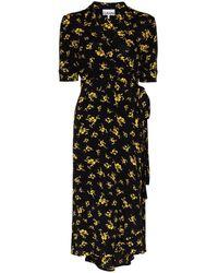 Ganni - Floral-print Crepe Wrap Dress - Lyst
