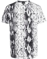 Just Cavalli スネークスキンパターン Tシャツ - ブラック