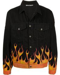 Palm Angels Jeansjacke mit Flammen - Schwarz