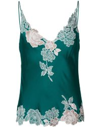 Carine Gilson Floral Lace-embroidery Slip Top - Green