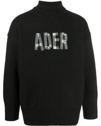 ADER error ロゴ セーター - ブラック