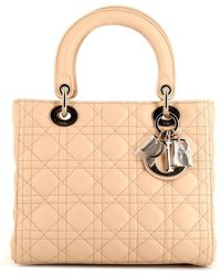 Dior Pre-owned Medium Lady Dior Cannage Bag - Natural