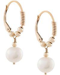 Petite Grand Little Pearl Hoop Earrings - Metallic