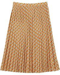 Burberry Monogram Print Pleated Skirt - Orange