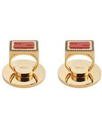 Fendi Adhesive Baguette Ff Motif Phone Ring Holders - Metallic