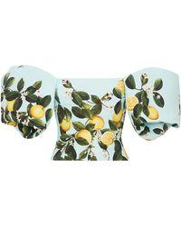 Oscar de la Renta Lemon-print Off-shoulder Crop Top - Blue