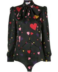Racil Neck-tied Heart Blouse - Black