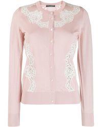 Dolce & Gabbana Кардиган С Кружевными Вставками - Розовый