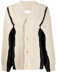 Maison Margiela Panelled Chunky Knit Cardigan - White