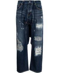 Fumito Ganryu Ripped Straight-leg Jeans - Blue