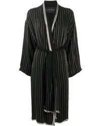 Christian Pellizzari Embellished Stripe Long Robe - Black