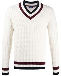 Drumohr V-neck Cable Knit Jumper - White