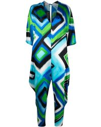 Gianluca Capannolo Abstract-print Jumpsuit - Blue