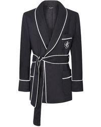 Dolce & Gabbana Dg エンブロイダリー リネンローブ - ブラック