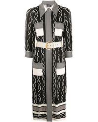 Elisabetta Franchi ミックスプリント シャツドレス - ブラック