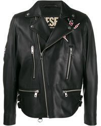 DIESEL Off-centre Zipped Graffiti Print Jacket - Black