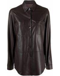 DROMe チェストポケット レザーシャツ - ブラウン