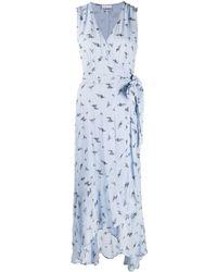 Ganni - Floral Print Wrap Dress - Lyst