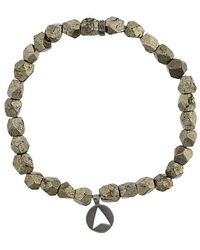 Northskull - Pyrite Stone Insignia Charm Bracelet - Lyst