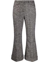 N°21 Flared Herringbone Pants - Black