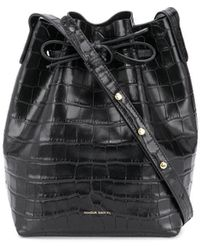Mansur Gavriel Crocodile-effect Bucket Bag - Black