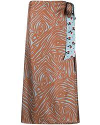 Alberto Biani Zebra Floral-print Silk Skirt - Brown