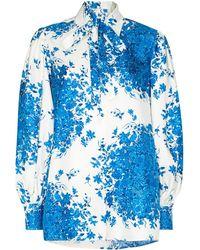 Valentino Рубашка С Бантом И Принтом - Синий