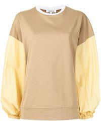 Enfold カラーブロック パネル スウェットシャツ - ブラウン