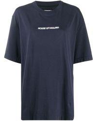 House of Holland T-shirt oversize con ricamo - Blu