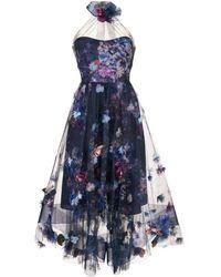 Marchesa notte 3d Floral Dress - Blue