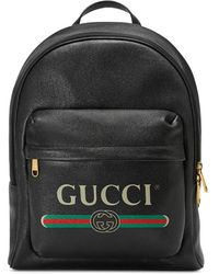 Gucci - Black Print Backpack - Lyst