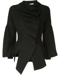 Aganovich Front Ruffles Asymmetric Shirt - Black