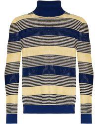 Gucci Striped Roll Neck Sweater - Blue