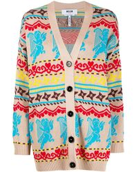 MSGM Кардиган-пальто С Узором Вязки Интарсия - Многоцветный