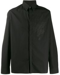 Fendi Monogram detail button up shirt - Nero