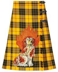 Gucci Embroidered Tartan Wool Skirt - Yellow