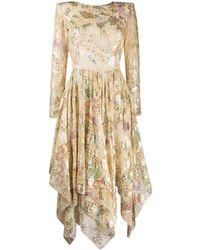 Etro Платье Миди С Цветочным Принтом И U-образным Вырезом - Желтый