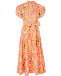 LHD Floral Print Midi Dress - Orange