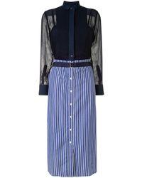 Sacai Striped-print Shirt Dress - Blue