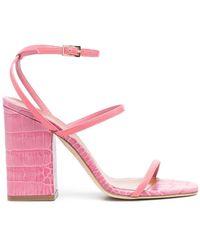 Paris Texas Sandalen mit Kroko-Effekt - Pink