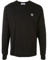 Stone Island ロゴ ロングtシャツ - ブラック