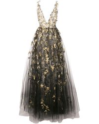 Oscar de la Renta Floral Embroidered Sleeveless Gown - Black