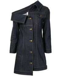 Monse Crooked Denim Mini Dress - Blue